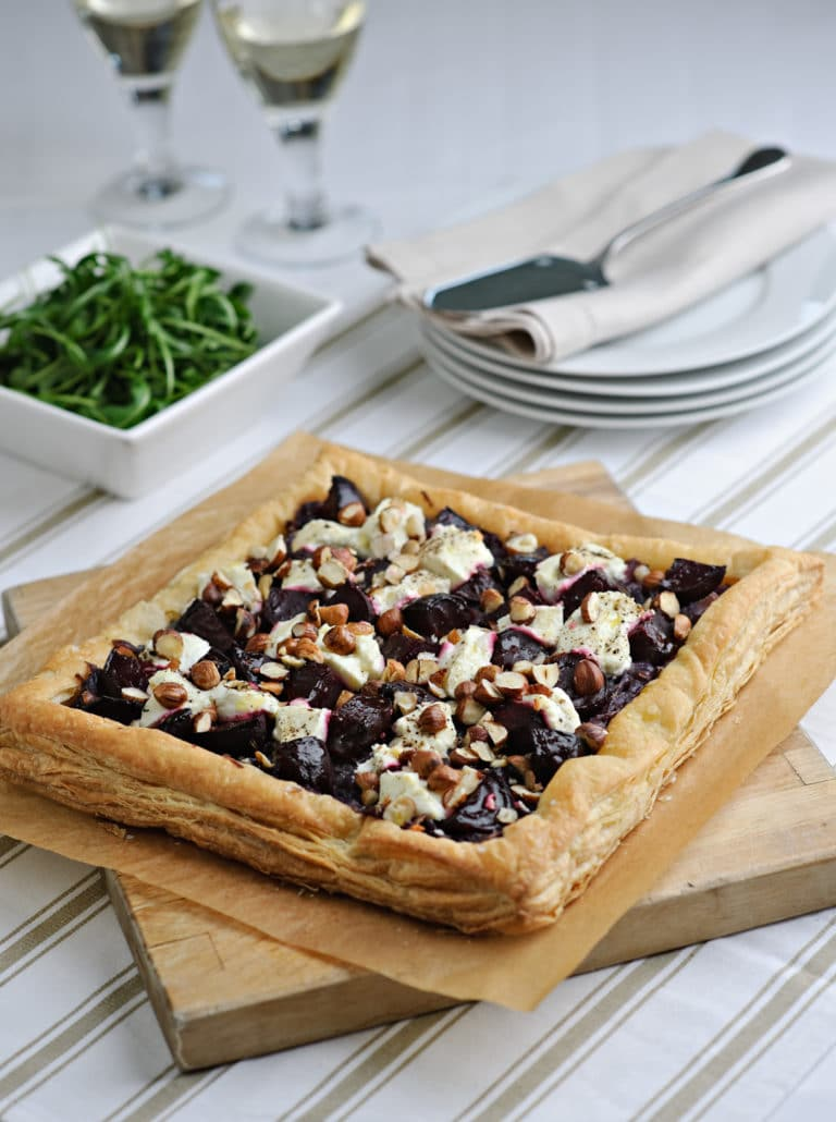 beetroot goats cheese and hazelnut tart